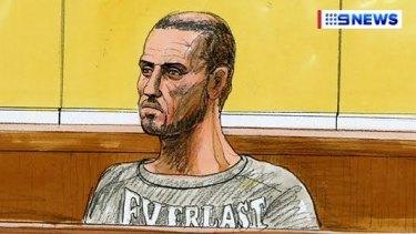 A court sketch of accused gun dealer Kane Dalrymple.