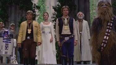 Chewbacca, right, in the triumphant conclusion of the film.