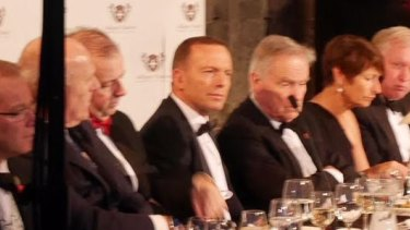 Tony Abbott, fifth from left, with his wife Margaret, second from right, at the Margaret Thatcher lecture in Britain.