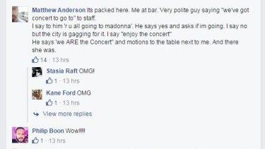 Chadwick Models director Matthew Anderson spotted Madonna at Il Solito Posto.