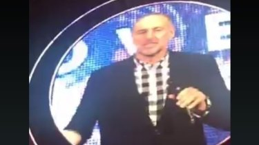 Hillsong founder Pastor Brian Houston introduces the video of his interview with Pastor Mark Driscoll at Allphones Arena in Homebush.