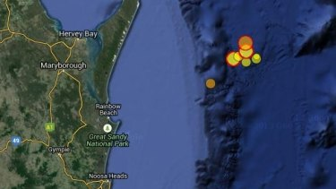 An area off the Fraser Coast was hit by eight earthquakes between Thursday and Saturday.