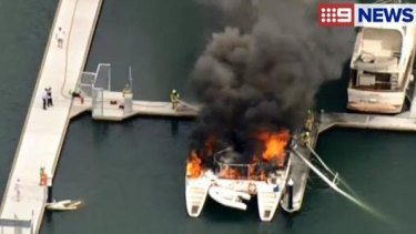 The 40-foot catamaran burst into flames shortly after 5pm.