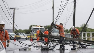 Raroa Rd in Aro Valley, Wellington is closed as power lines are felled by ex-Cyclone Gita.