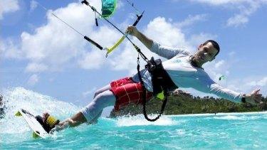 Dr Nicholas Cole kitesurfing.
