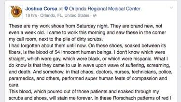 Dr Corsa's Facebook post about the Orlando shooting.