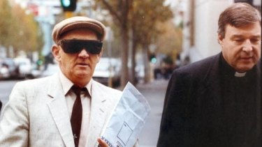 George Pell, right, and Gerald Ridsdale before a court appearance in 1993.