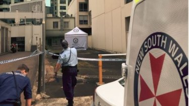The police crime scene in the alley in Chatswood.