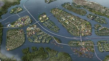 A model made by property company TWBI of what the Benoa Bay reclamation might look like.