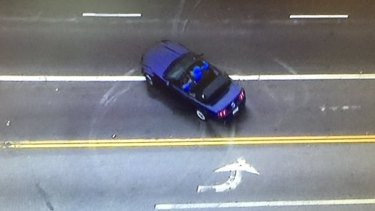 The vehicle performed doughnuts on the Hollywood Boulevard overpass.