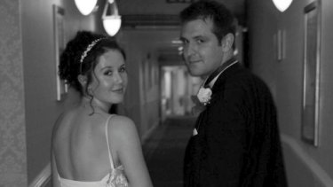 Tragic death: Jill Meagher and her husband Tom on their wedding day.