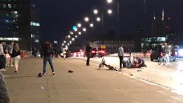 The scene on London Bridge following the terrorist attacks.