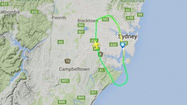 The flight path taken by JQ517 on Sunday afternoon.