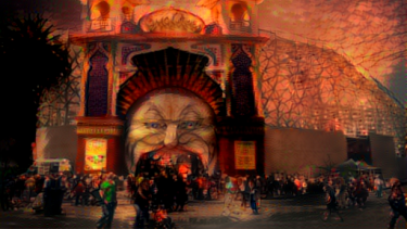 The entrance to Luna Park in St Kilda, Melbourne, as transformed by MIT's Nightmare Machine.