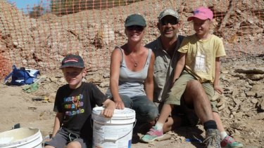 The Wilson family from Victoria helped to dig up the ichthyosaur fossil.