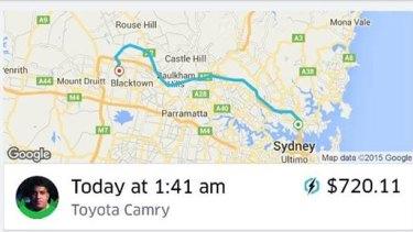 The $720 fare for a 40-minute ride.