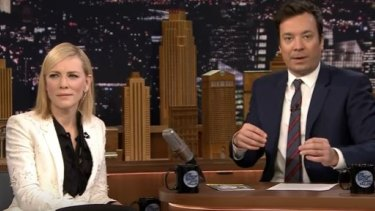 Cate Blanchett appearing on <em>The Tonight Show with Jimmy Fallon</em>.