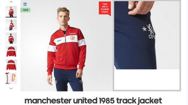 Oops: An advertisement shows a model mixing a Manchester United jacket with Chelsea pants.