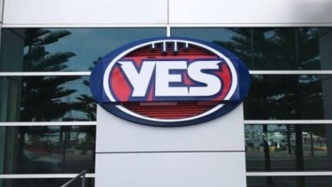 """The AFL logo outside its Docklands headquarters was temporarily changed to a """"YES"""" sign in support of marriage equality."""