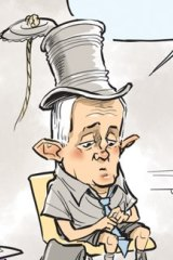 """David Pope on drawing the PM with a tin-can-and-string top hat (from his days as Minister for Communications): """"He now looks naked to me when I draw him without it. Over time it has become a prop that has taken on a life of its own."""""""