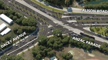 The so-called continuous flow intersection planned for Moore Park.