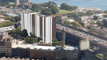 An Institute of Architects model of a redevelopment suggests the Rocks could be obscured.