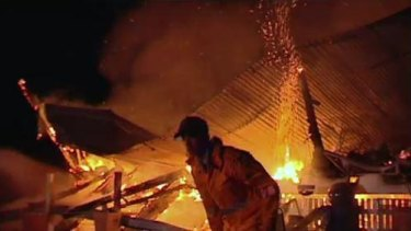 Firefighters battle a blaze at Brymaroo, north-west of Toowoomba.