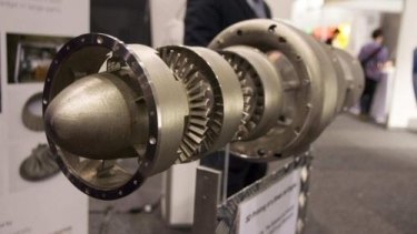 The 3D printed jet engine on display at the Avalon Airshow.