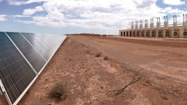 Artist's impression of a new solar and battery project at a copper mine.