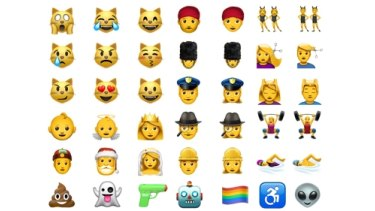 Some of the new and redesigned emoji that will soon appear on Apple platforms.