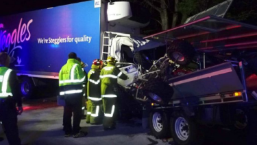 A truck driver has died after his truck was hit by a trailer which broke loose from the caravan it was being towed by.