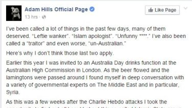 Adam Hills defends his program in the post which has been liked 70,000 times.