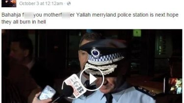 Facebook post allegedly made by the student arrested outside Arthur Phillip High School on Tuesday.