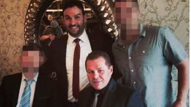 "Liberal councillor Peter Ristevski at a fundraiser with Tony Atanasovski, a convicted drug dealer nicknamed ""The Falcon""."