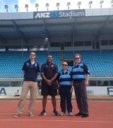 On tour: Barrie-Jon Mather, Petero Civoniceva, Bob Millward and David Trodden at ANZ Stadium in Fiji.