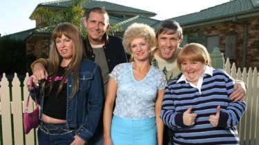 As Sharon Strzelecki with the cast of <i>Kath & Kim</i> (from left), Gina Riley, Peter Rowsthorn, Jane Turner and Glenn Robbins.