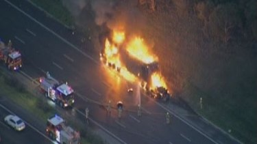 The truck in flames on the Monash Freeway on Friday morning.