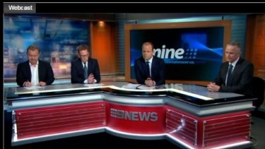 Channel Nine executives delivering the 2015-16 results (l-r) Alex Parsons, chief marketing officer, Michael Stephenson, chief sales officer, Greg Barnes, chief financial officer, and chief financial officer Hugh Marks.