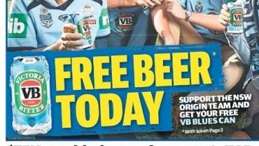 The Saturday <i>Daily Telegraph</i> had an offer for a free blue VB can.