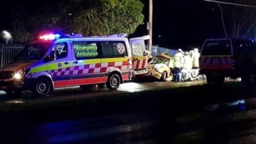 Police at the scene of a serious crash in Caringbah.