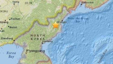 The epicentre of the earthquake that hit North Korea at 12:30pm AEDST