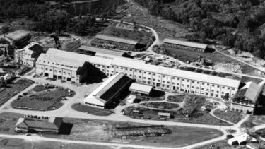 The Petrie paper mill, pictured during its final stages of construction in the 1950s.