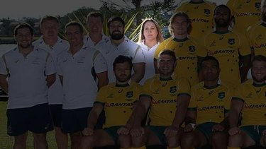 Di Patston in a Wallabies team photo in June last year.
