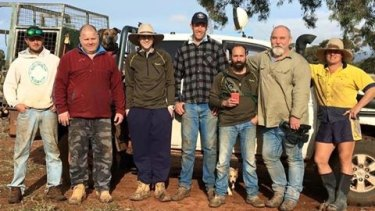 Kailem Barwick (third from left) during the hunting trip with Greig Tonkins (centre).