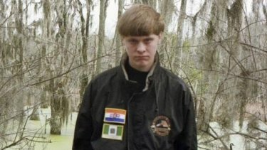 Dylann Roof, 21, who police suspect of shooting dead nine people at a historic black church in Charleston. The picture on Roof's Facebook page showed him wearing a black jacket with patches of the apartheid-era South African flag and the flag of white-ruled Rhodesia, now Zimbabwe.