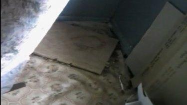 Broken flooring.