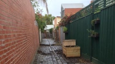 The North Carlton lane after the guerilla garden was removed by Yarra Council.
