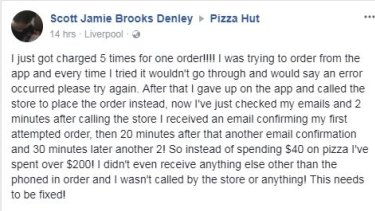 A customer complaint about the new Pizza Hut website.