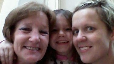 One of the last shots that Tamara Turner's children have of their mother. This was taken at the airport in December last year before she flew out to be with Steven Samaras. Pictured L-R are Ms Turner, her grandchild Kylie and daughter Natasha King.
