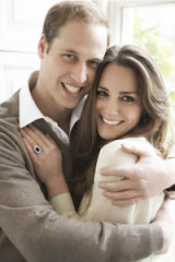 Prince William and Kate Middleton looking relaxed in one of their official engagement photos taken by Mario Testino.